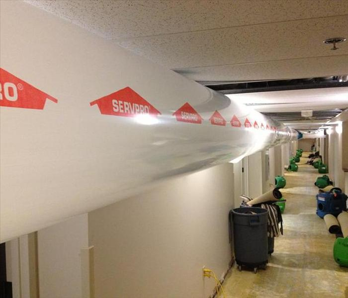 Flood damaged commercial hallway