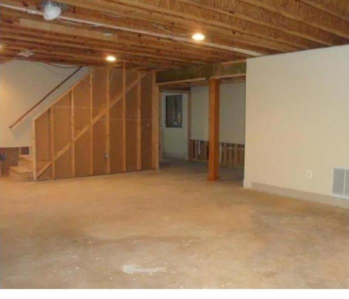 Basement stripped to studs