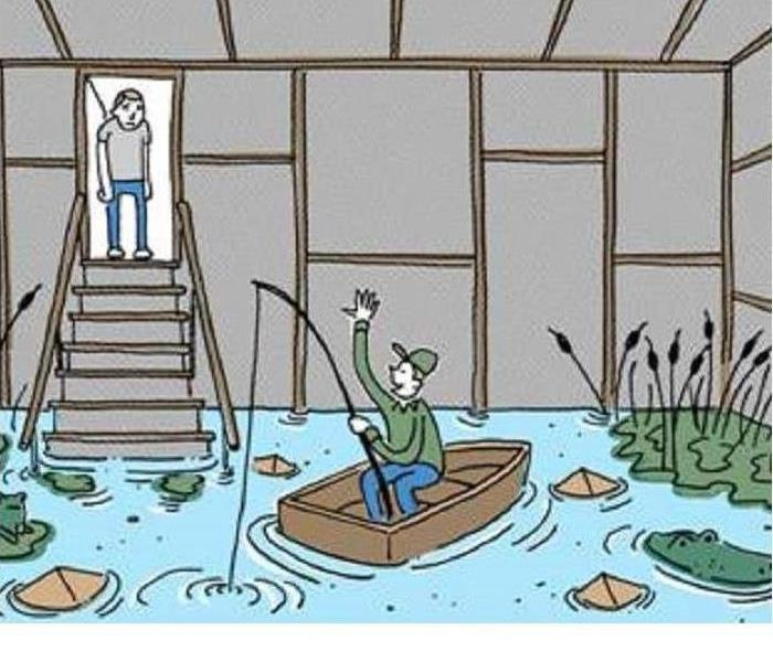 Man looking into flooded basement at a man in a row boat.